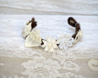 Bridal Lace Cuff Bracelet Woodland Wedding Wrist Corsage Bridesmade Gift