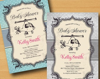 retro Helicopters baby shower baby boy baby girl invitation Retro Rustic invitation vintage or kids birthday 2colors to choose from card 294