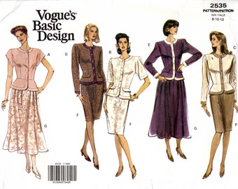 Vogue Basic Design 2535 Misses' Top and Skirt Sewing Pattern - Uncut - Size 8, 10, 12