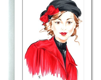 Portrait, Greeting Card, Brunette, Beret, Red and Black, Art Card, Red Bow, Black Beret, Red Coat, Blank Greeting Card, Gifts for Her