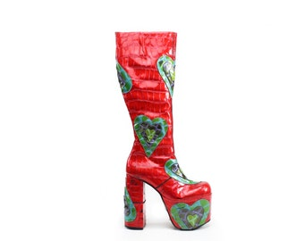 90's Psychedelic Love GoGo Patent Leather Hearts Mega Platform High Heel Luichiny Knee Boots // 6