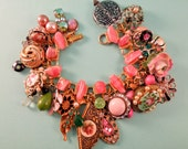 Perfectly Pink Charm Bracelet One of a kind repurposed vintage jewelry