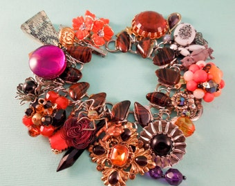 Halloween Honey Repurposed Vintage Jewelry Charm Bracelet One of A Kind