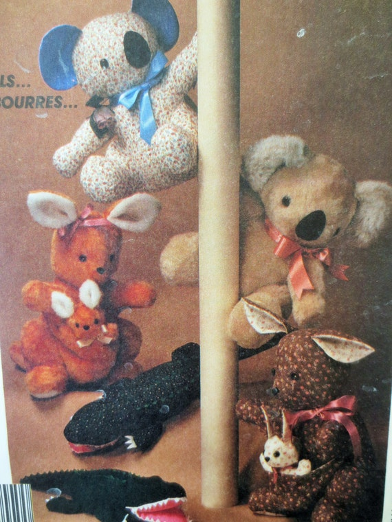 Vintage Mccall S 3462 Sewing Pattern Stuffed Animals