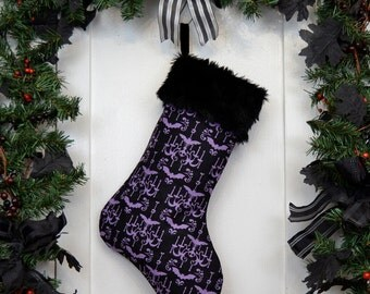 Goth Punk Christmas Stocking Purple and Black Haunted Chandelier with Bats Skulls and Black Fur