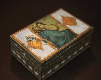 Vintage Gold Wood Box - Jewelry Box - Mother and Child Wood box