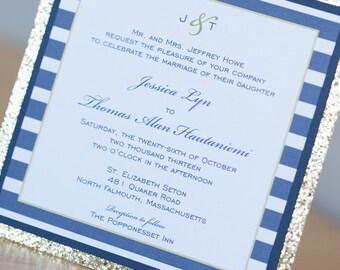 Sparkle Anchor Stripe wedding invitation