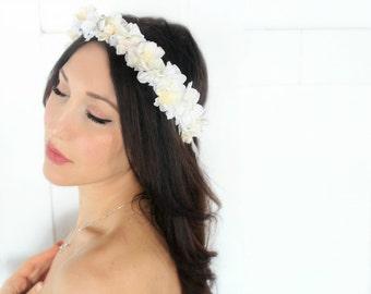 Romantic Flower Crown, Ivory & White Wedding Flower Headband, hair flower, hair accessory, flower girl - MICHELLE- by DeLoop
