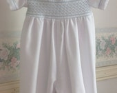 12 month boys Christening Outfit, Romper, cotton, Hand smocked, Handmade, Ready to Ship