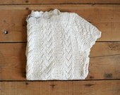Vintage Cream Open Knit Sweater with Scalloped Neckline