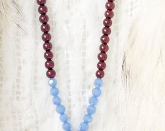 Long Agate Necklace >|< Boho OOAK Necklace >|< Glass Pearl Necklace