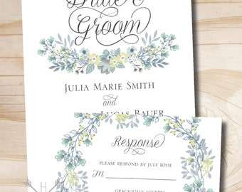 Vintage Floral Wreath Wedding Invitation Response Card - Printable Invitation