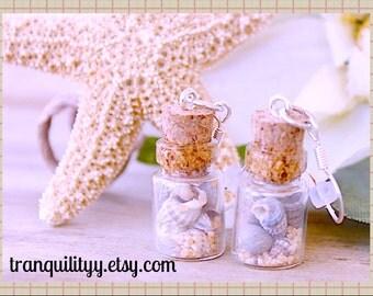 Sea Shell Bottle Earrings ,South Beach Rommance Natural Shells n Sea Sand Glass .5ml Vial Bottle Earrings By: Tranquilityy