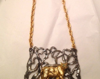 Rare Napier Jewelry Mountain Lion Necklace Eugene Bertolli Rare Beauty