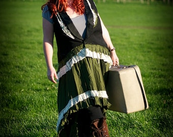 Black & green steampunk outfit. Waistcoat / vest and skirt. Neo-Victorian clothing. Plus size Steam punk costume