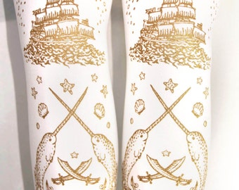 Pirate Sailor Tights Narwhals Extra Large Plus Size Gold on White Women Tattoo Anchor Lolita Dolly Kei