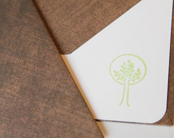 Set of 3 Stationery -  Lime Trees with Chestnut Brown