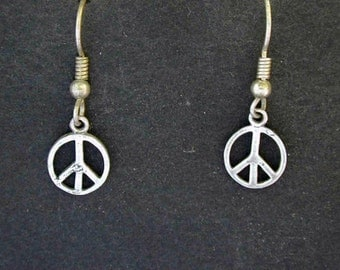 Sterling Silver Peace Sign Earrings on Sterling Silver French Wires