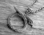 Silver Snake Necklace Snake Jewelry Serpent Necklace Gothic Goth Witchcraft Witch Craft Occult Voodoo Ouroboros Necklace Serpent Jewelry