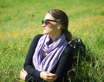 SALE Eco Friendly Infinity Scarf - Circle Scarf - Cowl - Purple - Organic Cotton Hemp Jersey - Organic Clothing - Ready to Ship
