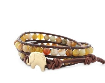 Gold Lucky Elephant Button Leather Wrap Bracelet - Natural Stone - the Lucky Elephant Exclusive