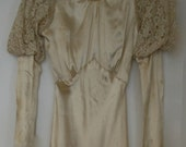 Art Deco Ivory Satin and Lace Wedding Dress