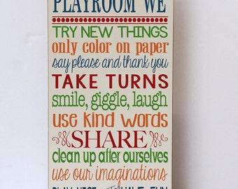Playroom Decor, Playroom Rules Wood Sign, Child's Room Decor, Home Decor, In Our Playroom, Rules for Playtime, Art for Playroom, Nursery