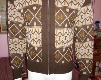 1950's Men's Zip Up Cardigan Sweater College Varsity Collegiate Nordic Ski Atomic Teen Heart-Throb  Rockabilly Hipster VlV