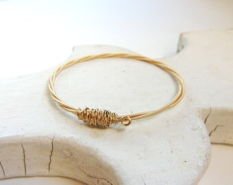 Gold GUITAR STRING BANGLE- guitar string bracelet - Size Small - for teens and adults - recycled/upcycled jewelry - under 25.00