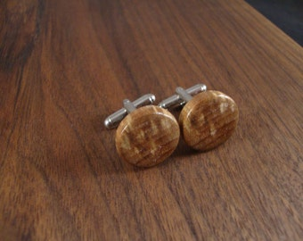 Wooden Round Cuff Links - Spalted Black Walnut wood - Wedding, anniversary, any Special Occasion