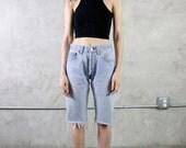 Levis 501 Shorts, 80s 90s Levis bermuda cut off shorts, light wash, long shorts, womens