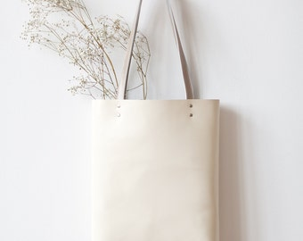 Clearance SALE Simple Ivory Leather Tote bag No. tl- 6021