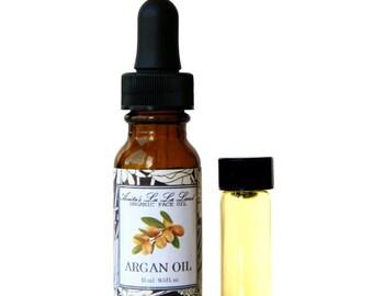 Organic Argan Face Oil - Facial Oil Elixir, Morocco Argan Oil and Sea Buckthorn Oil, Vegan, for Sensitive Skin, Unscented
