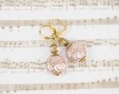 Pink beaded earrings, vintage & swarovski crystal earrings, leverback earrings, romantic earrings