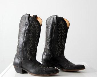 1970s Acme black leather boots, men's size 10