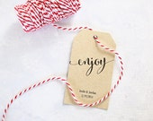 Large Enjoy Tag - Gift Tags, Wedding Favors, Party Favors, Personalized Tags for Gift Bags, - Set of 25 (LG-TAG)