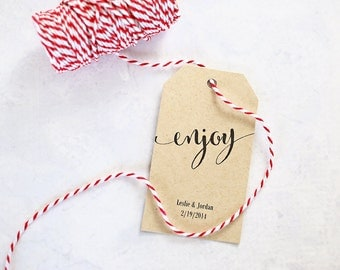 Enjoy Gift Tags, Personalized Tags for Gift Bags, Wine, Wedding Shower Favors - Size 2 x 3.5 inches, Set of 25, Printed Tags