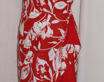 Reduced 1950s vintage inspired red bombshell Hawaiian halter wiggle dress M L rockabilly VLV