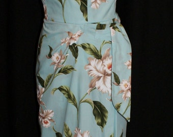 Vintage 1950s inspired Hawaiian sarong halter wiggle dress powder blue white orchids XS XL VLV rockabilly Viva