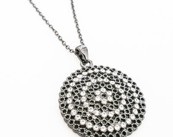 Silver Filigree CZ Pedant Necklace