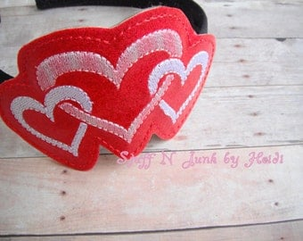 Triple Heart Headband Slide On Accessories, Holiday Headband Slides