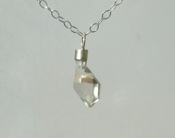 Quartz  Scepter  Pendant  -  Raw Natural Crystal Set In Sterling  Silver Necklace with Chain