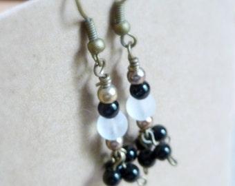 Black and White Glass Cluster Earrings, Dangle Cluster Earrings, Black and White Jewelry, Antique Bronze Earrings, Lightweight Earrings