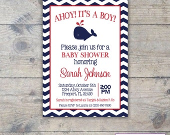 WHALE NAVY CHEVRON - Baby Shower 5x7 Invitation Printable