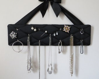 READY TO SHIP, Original French Jewelry Hanger - 11 hooks - Black on Black 100% Dupioni Silk Fabric