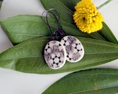 porcelain earrings - victorian inspired geometric design - black and white
