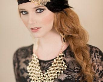 1920s Headpiece, Gold Beaded Black Feather Headband, Gatsby Headpiece, Flapper Headband
