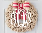 Spring Wreath, Personalized Door Wreath, Wooden Monogram, Personalized Home Decor, Monogram Wreaths for the Door, Interchangeable Bow