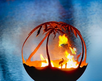 Another Day in Paradise Fire Pit - 37″ Steel Palm Tree Firepit Sphere with Flat Steel Base.