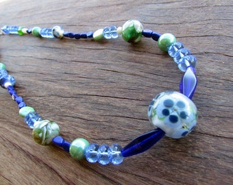 Blue and Green Should Be Seen--Handmade Glass Feature Beads in Glass Beaded Necklace